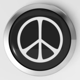 Peace Sign Button Shows Love Not War