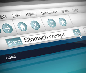 Stomach cramps concept.