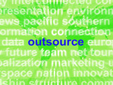 Outsource Word Cloud Shows Subcontract And Freelance
