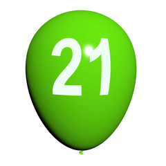 21 Balloon Shows Twenty-first Happy Birthday Celebration