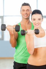 Training with dumbbells.