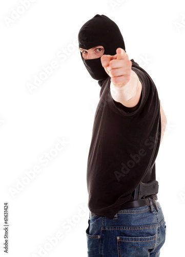 pointing on you robber on the white background
