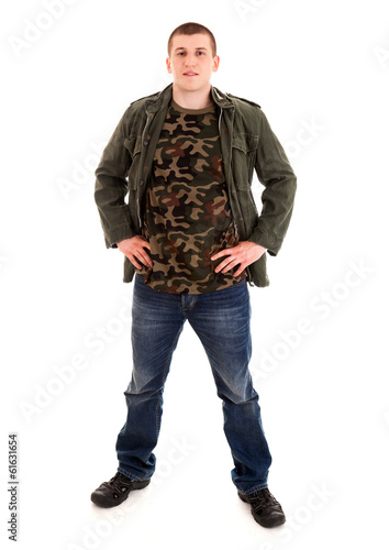 standing young man, white background