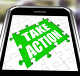 Take Action Smartphone Means Urge Inspire Or Motivate