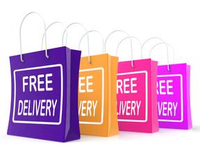 Free Delivery Shopping Bags Showing No Charge Or Gratis To Deliv
