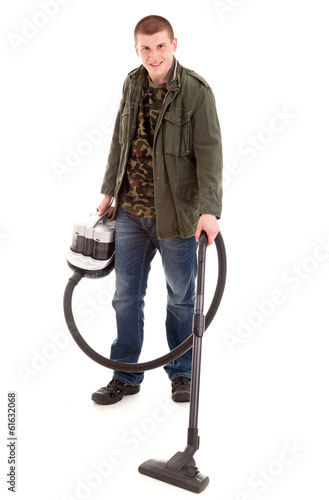 man with vacuum cleaner, full lenght, white background