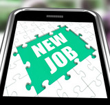 New Job Smartphone Shows Changing Jobs Or Employment