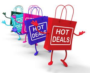 Hot Deals Bags Represent Shopping  Discounts and Bargains
