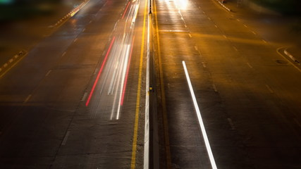 time lapse cars traffic on highway night time