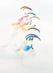 Paramotors demonstration with colored smoke