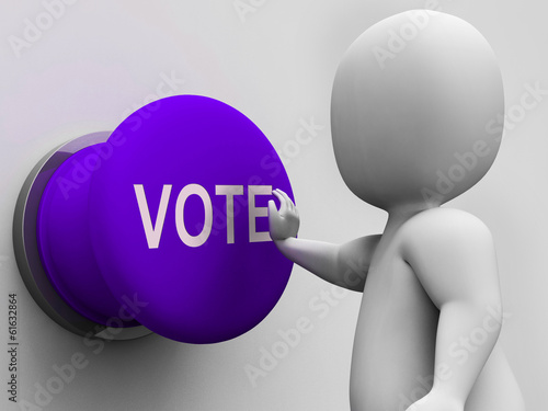 Vote Button Means Choosing Electing Or Poll