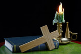 Bible and Cross with Candle
