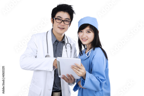 Young medical team isolated