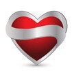 Heart with ribbon logo vector