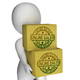 Online Sales Boxes Show Buying And Selling On Internet