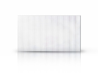 Rectangular placard of fabric over white background.