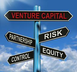 Venture Capital Signpost Shows Partnership Risk Control And Equi