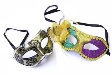 Colored Carnaval venetian masks isolated on white background