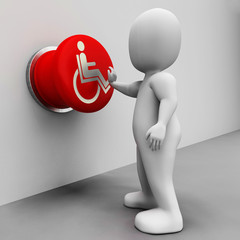 Wheel Chair Button Shows Physical Disability And Immobility