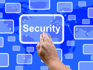 Security Touch Screen Shows Privacy Encryptions And Safety