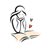 girl and romantic book, isolated vector sketch