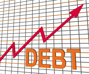 Debt Graph Chart Shows Increase Financial Indebted