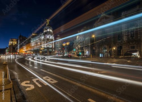 Aluminium Madrid Madrid night lights
