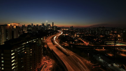 Kuala Lumpur Highway with City in Malaysia Timelapse