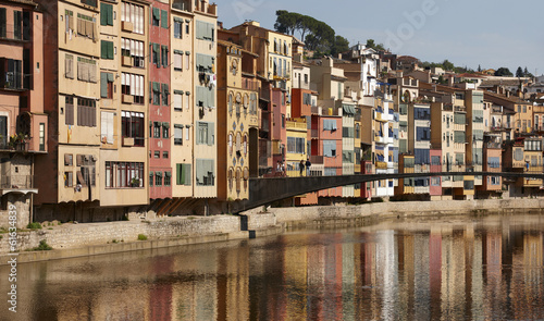 Spain. Catalonia. Girona. Colorful houses.