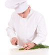 smoking male cook on the white background