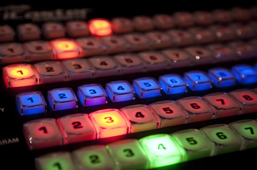 Rows of buttons on a TV production video switcher