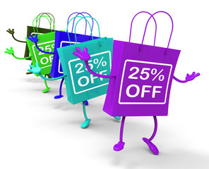Twenty-five Percent Off On Colored Shopping Bags Show Bargains