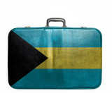 Vintage travel bag with flag of Bahamas