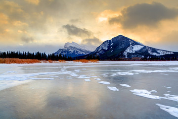 Winter Sunrise Over Frozen Vermilion Lakes, Banff National Park