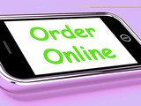 Order Online On Phone Shows Buying In Web Stores