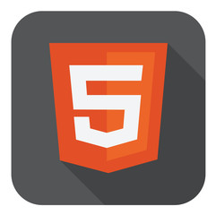 vector illustration of orange shield with html five sign on the