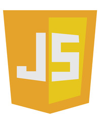vector icon of orange javascript shield, isolated simple flat il
