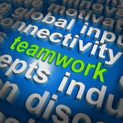 Teamwork Word Cloud Shows Combined Effort And Cooperation