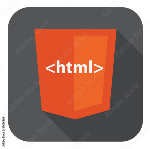 vector illustration of orange shield with html tag on the screen