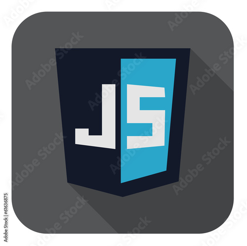 vector illustration of dark blue shield with javascript line on