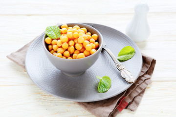boiled chickpeas in a bowl