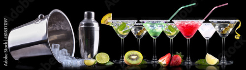 Poster Alcohol alcohol cocktail set with summer fruits