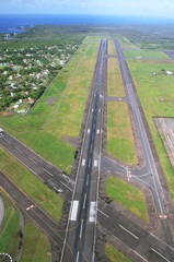 Views of landing runway arriving at Hilo airport