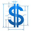 Dollar symbol with dimension lines for blueprint drawing