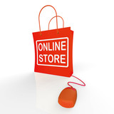 Online Store Bag Shows Shopping and Buying From Internet Stores