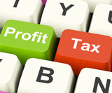 Profit Tax Keys Show Paying Company Taxes
