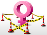 Female symbol located in restricted area with barrier tape