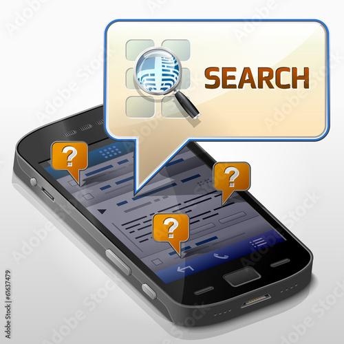 Smartphone with message bubble about search pop up over screen