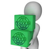 Toys Boxes Mean Presents For Children And Kids