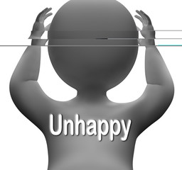 Unhappy Character Shows Sad Depressed Or Upset